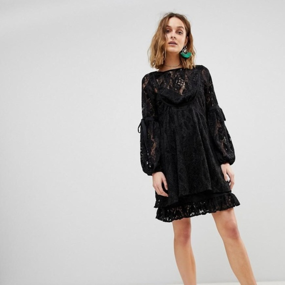 2a0ccfe80968 Free People Dresses   Skirts - Free People Black Lace Ruby Mini Dress Size L